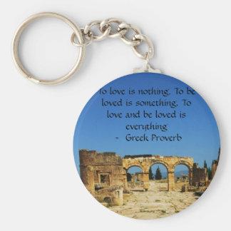 Proverbio griego sobre amor llavero redondo tipo pin