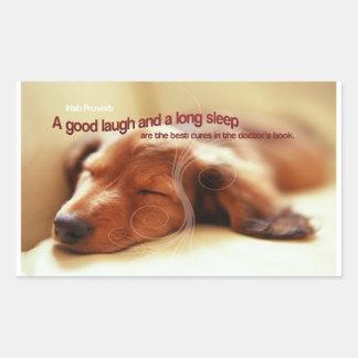 Proverbio irlandés y perro el dormir rectangular pegatina