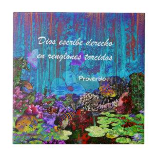 Proverbio sobre dios azulejo cuadrado pequeño