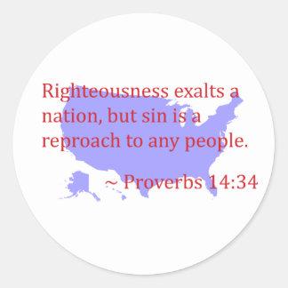 Proverbios 14,34 y América Pegatina Redonda