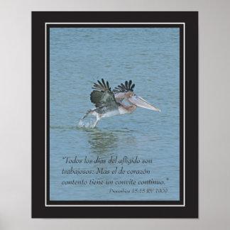 Proverbios 15:15 con Pelicano (Cartel) Poster