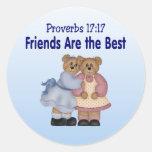 Proverbios 17 17 pegatina redonda