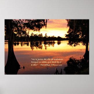 Proverbios 27-1 con Puesta del Sol Poster