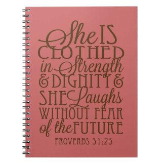 Proverbios 31 - Vestido en la fuerza y la dignidad Spiral Notebooks