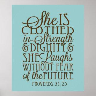 Proverbios 31 - Vestido en la fuerza y la dignidad Póster