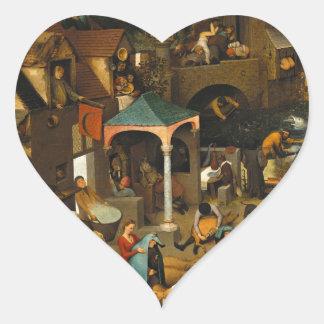 Proverbios de Bruegel Netherlandish Calcomanía De Corazón