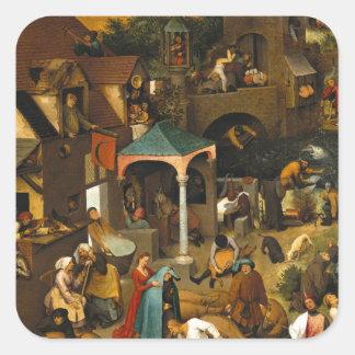 Proverbios de Bruegel Netherlandish Pegatina Cuadradas Personalizadas