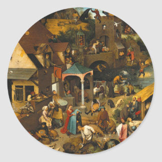 Proverbios de Bruegel Netherlandish Etiqueta Redonda