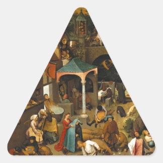 Proverbios de Bruegel Netherlandish Pegatina Trianguladas Personalizadas