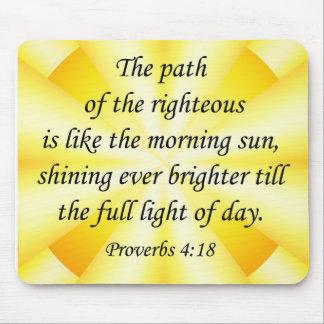 Proverbios de Mousepad del verso de la biblia 4 18 Alfombrillas De Ratón