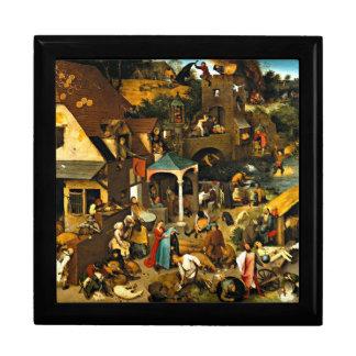 Proverbios de Netherlandish, pintura de Pieter Bru Joyero Cuadrado Grande