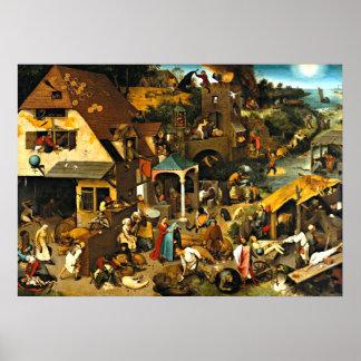 Proverbios de Netherlandish, pintura de Pieter Bru Póster