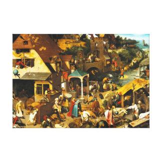 Proverbios de Pieter Bruegel Netherlandish Impresión En Lienzo Estirada