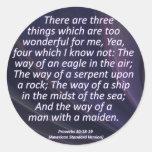Proverbios del amor 30-18 condensado etiqueta redonda