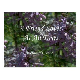 proverbs17-17 ~ Lilacs Postcard