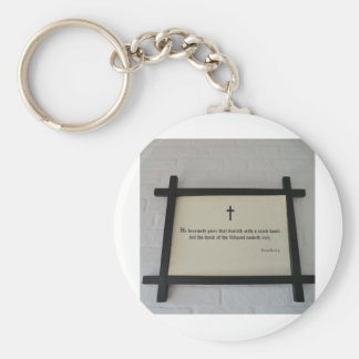 Proverbs 10:4 on the Wall at Southwell Workhouse Basic Round Button Keychain