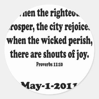 proverbs 11 classic round sticker