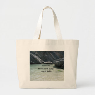 Proverbs 13:3 He who guards his lips... Large Tote Bag
