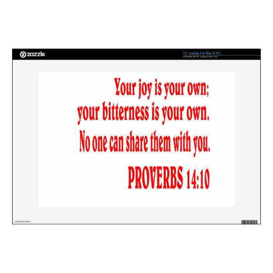 """PROVERBS 14:10 Bible verse. Decals For 15"""" Laptops"""
