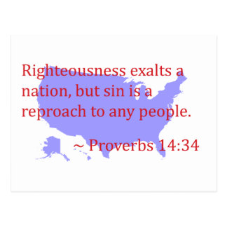 Proverbs 14.34 and America Postcard