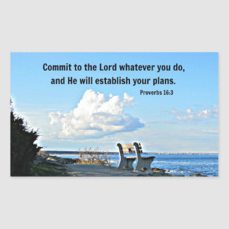 Proverbs 16:3 Commit to the Lord whatever you do.. Rectangular Sticker