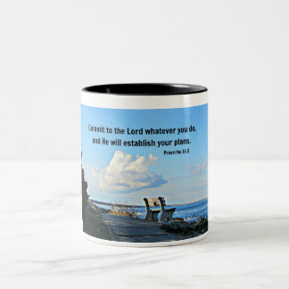 Proverbs 16:3 Commit to the Lord whatever you do.. Two-Tone Coffee Mug