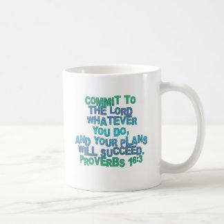 Proverbs 16:3 classic white coffee mug
