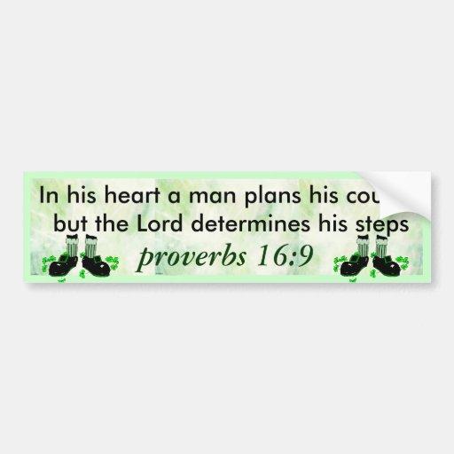 proverbs 16:9 bumper sticker car bumper sticker