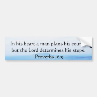 Proverbs 16:9 Inspirational Bible Verse Bumper Sticker