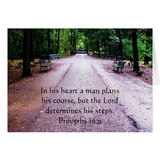 Proverbs 16:9 Inspirational Bible Verse Card
