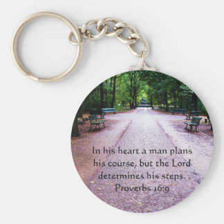 Proverbs 16:9 Inspirational Bible Verse Keychain