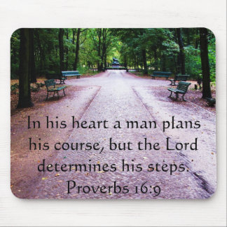 Proverbs 16:9 Inspirational Bible Verse Mouse Pad
