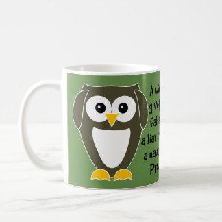 Proverbs 17:4 Owl Bible Verse Mug - Hear No Evil Basic White Mug