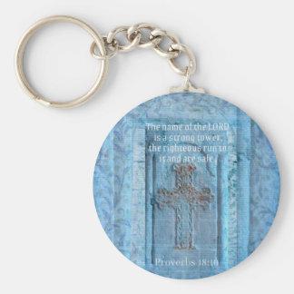 Proverbs 18:10 Encouraging Bible Verse CROSS Key Chain