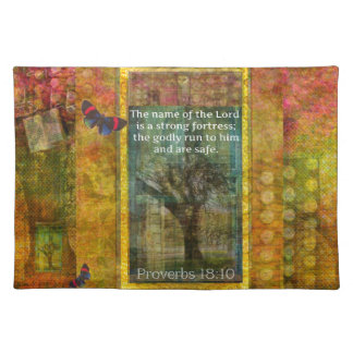 """Proverbs 18:10 """"The name of the LORD is a strong.. Place Mats"""