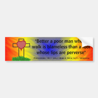 Proverbs 19:1 New Int'l Version Bible Scripture Bumper Sticker