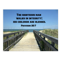 Proverbs 20:7 The righteous man walks in integrity Postcard