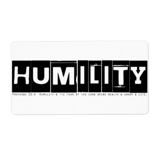 "Proverbs 22:4 ""Humility"" (black) Personalized Shipping Label"