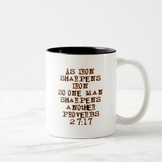 Proverbs 27:17 Two-Tone coffee mug