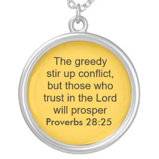 proverbs 28:25 neckalce round pendant necklace