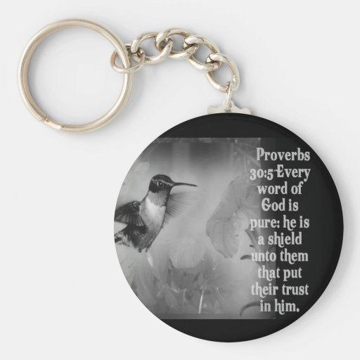 Proverbs 30:5 BIBLE SCRIPTURE with Hummingbird Keychain
