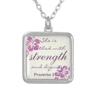 Proverbs 31 25 Clothed with Strength - Purple Square Pendant Necklace