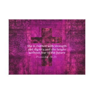 Proverbs 31:25 Inspirational Bible Verse for Women Canvas Print