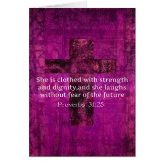 Proverbs 31:25 Inspirational Bible Verse  Women Card