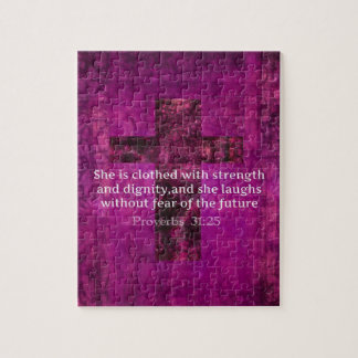 Proverbs 31:25 Inspirational Bible Verse  Women Jigsaw Puzzle