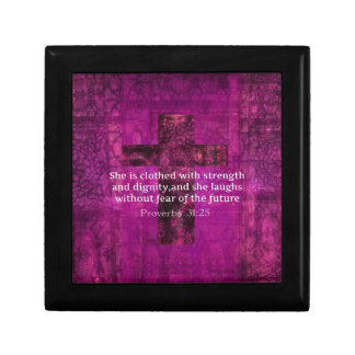 Proverbs 31:25 Inspirational Bible Verse  Women Keepsake Box