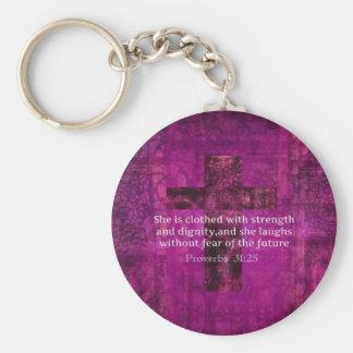 Proverbs 31:25 Inspirational Bible Verse  Women Keychain