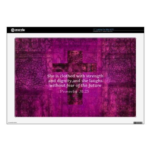 Proverbs 31:25 Inspirational Bible Verse  Women Laptop Decals