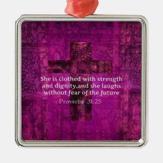 Proverbs 31:25 Inspirational Bible Verse  Women Metal Ornament