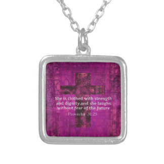 Proverbs 31:25 Inspirational Bible Verse  Women Square Pendant Necklace
